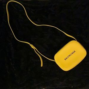 Yellow xs balenciaga camera bag